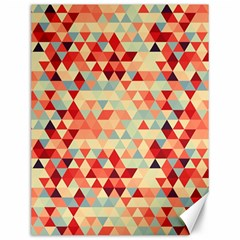 Modern Hipster Triangle Pattern Red Blue Beige Canvas 12  X 16   by EDDArt