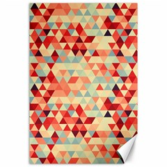 Modern Hipster Triangle Pattern Red Blue Beige Canvas 24  X 36  by EDDArt