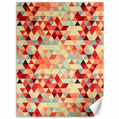 Modern Hipster Triangle Pattern Red Blue Beige Canvas 36  X 48   by EDDArt