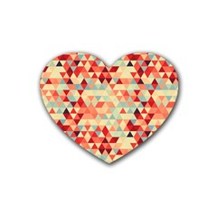 Modern Hipster Triangle Pattern Red Blue Beige Heart Coaster (4 Pack)  by EDDArt