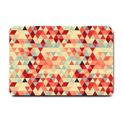 Modern Hipster Triangle Pattern Red Blue Beige Small Doormat  by EDDArt