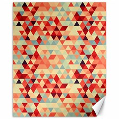 Modern Hipster Triangle Pattern Red Blue Beige Canvas 11  X 14   by EDDArt