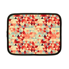 Modern Hipster Triangle Pattern Red Blue Beige Netbook Case (small)  by EDDArt