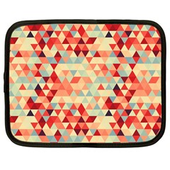 Modern Hipster Triangle Pattern Red Blue Beige Netbook Case (large) by EDDArt