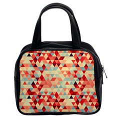 Modern Hipster Triangle Pattern Red Blue Beige Classic Handbags (2 Sides) by EDDArt