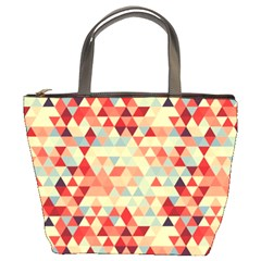 Modern Hipster Triangle Pattern Red Blue Beige Bucket Bags by EDDArt
