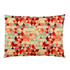 Modern Hipster Triangle Pattern Red Blue Beige Pillow Case by EDDArt