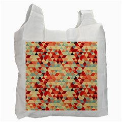 Modern Hipster Triangle Pattern Red Blue Beige Recycle Bag (one Side) by EDDArt