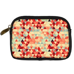 Modern Hipster Triangle Pattern Red Blue Beige Digital Camera Cases by EDDArt