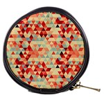 Modern Hipster Triangle Pattern Red Blue Beige Mini Makeup Bags Front