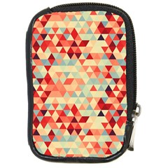 Modern Hipster Triangle Pattern Red Blue Beige Compact Camera Cases by EDDArt