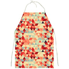 Modern Hipster Triangle Pattern Red Blue Beige Full Print Aprons by EDDArt