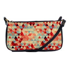 Modern Hipster Triangle Pattern Red Blue Beige Shoulder Clutch Bags by EDDArt