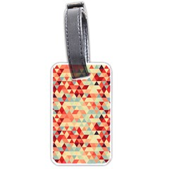 Modern Hipster Triangle Pattern Red Blue Beige Luggage Tags (one Side)  by EDDArt