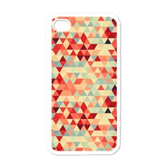 Modern Hipster Triangle Pattern Red Blue Beige Apple Iphone 4 Case (white) by EDDArt