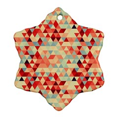 Modern Hipster Triangle Pattern Red Blue Beige Ornament (snowflake)  by EDDArt