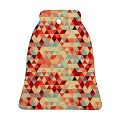 Modern Hipster Triangle Pattern Red Blue Beige Ornament (bell)  by EDDArt