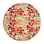 Modern Hipster Triangle Pattern Red Blue Beige Round Filigree Ornament (2Side) Back