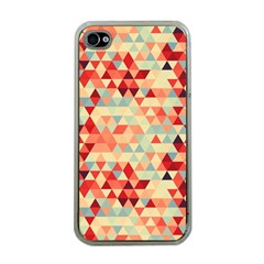 Modern Hipster Triangle Pattern Red Blue Beige Apple Iphone 4 Case (clear) by EDDArt