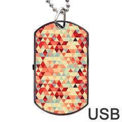 Modern Hipster Triangle Pattern Red Blue Beige Dog Tag Usb Flash (two Sides)  by EDDArt