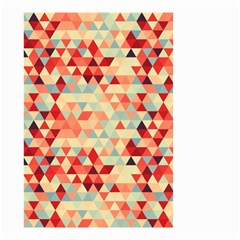 Modern Hipster Triangle Pattern Red Blue Beige Small Garden Flag (two Sides) by EDDArt