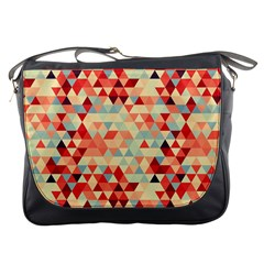 Modern Hipster Triangle Pattern Red Blue Beige Messenger Bags by EDDArt