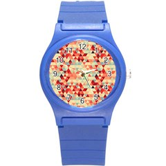 Modern Hipster Triangle Pattern Red Blue Beige Round Plastic Sport Watch (s) by EDDArt