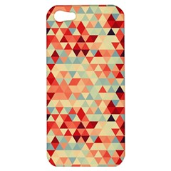 Modern Hipster Triangle Pattern Red Blue Beige Apple Iphone 5 Hardshell Case by EDDArt