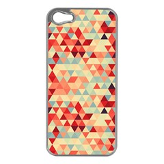 Modern Hipster Triangle Pattern Red Blue Beige Apple Iphone 5 Case (silver) by EDDArt