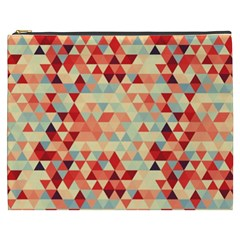 Modern Hipster Triangle Pattern Red Blue Beige Cosmetic Bag (xxxl)  by EDDArt