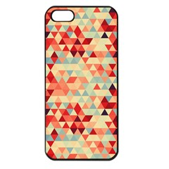 Modern Hipster Triangle Pattern Red Blue Beige Apple Iphone 5 Seamless Case (black) by EDDArt