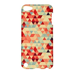 Modern Hipster Triangle Pattern Red Blue Beige Apple Ipod Touch 5 Hardshell Case by EDDArt