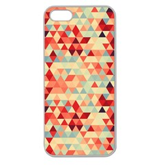 Modern Hipster Triangle Pattern Red Blue Beige Apple Seamless Iphone 5 Case (clear) by EDDArt