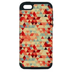 Modern Hipster Triangle Pattern Red Blue Beige Apple Iphone 5 Hardshell Case (pc+silicone) by EDDArt
