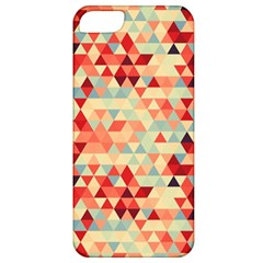 Modern Hipster Triangle Pattern Red Blue Beige Apple Iphone 5 Classic Hardshell Case by EDDArt