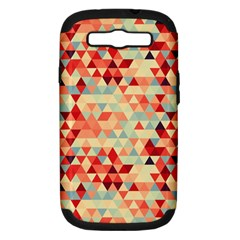 Modern Hipster Triangle Pattern Red Blue Beige Samsung Galaxy S Iii Hardshell Case (pc+silicone) by EDDArt