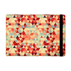 Modern Hipster Triangle Pattern Red Blue Beige Apple Ipad Mini Flip Case by EDDArt