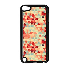 Modern Hipster Triangle Pattern Red Blue Beige Apple Ipod Touch 5 Case (black) by EDDArt