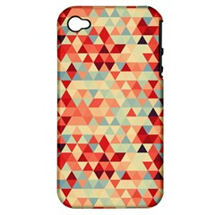 Modern Hipster Triangle Pattern Red Blue Beige Apple Iphone 4/4s Hardshell Case (pc+silicone) by EDDArt