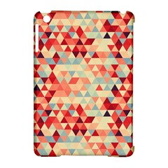 Modern Hipster Triangle Pattern Red Blue Beige Apple Ipad Mini Hardshell Case (compatible With Smart Cover) by EDDArt