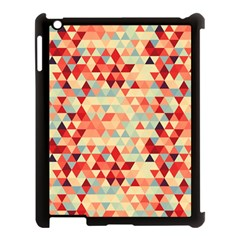 Modern Hipster Triangle Pattern Red Blue Beige Apple Ipad 3/4 Case (black) by EDDArt