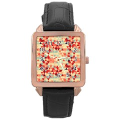 Modern Hipster Triangle Pattern Red Blue Beige Rose Gold Leather Watch  by EDDArt