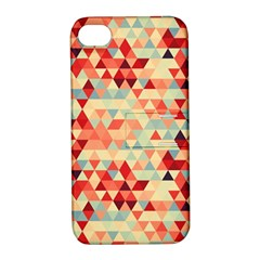 Modern Hipster Triangle Pattern Red Blue Beige Apple Iphone 4/4s Hardshell Case With Stand by EDDArt
