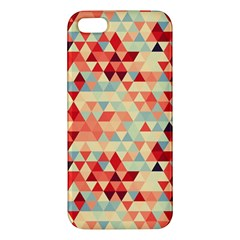 Modern Hipster Triangle Pattern Red Blue Beige Apple Iphone 5 Premium Hardshell Case by EDDArt