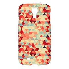 Modern Hipster Triangle Pattern Red Blue Beige Samsung Galaxy S4 I9500/i9505 Hardshell Case by EDDArt