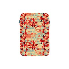 Modern Hipster Triangle Pattern Red Blue Beige Apple Ipad Mini Protective Soft Cases by EDDArt