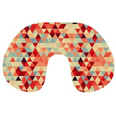 Modern Hipster Triangle Pattern Red Blue Beige Travel Neck Pillows by EDDArt
