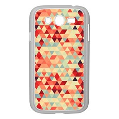 Modern Hipster Triangle Pattern Red Blue Beige Samsung Galaxy Grand Duos I9082 Case (white) by EDDArt