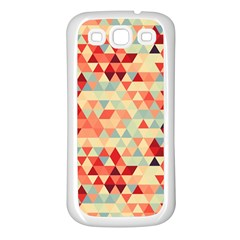 Modern Hipster Triangle Pattern Red Blue Beige Samsung Galaxy S3 Back Case (white) by EDDArt