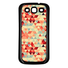 Modern Hipster Triangle Pattern Red Blue Beige Samsung Galaxy S3 Back Case (black) by EDDArt